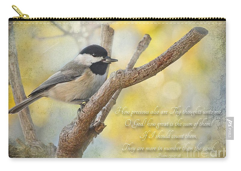 Animals Carry-all Pouch featuring the photograph Chickadee With His Prize And Verse by Debbie Portwood