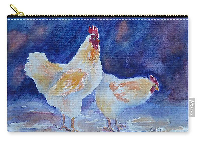 Chicken Carry-all Pouch featuring the painting Chicken Duo by Carolyn Jarvis