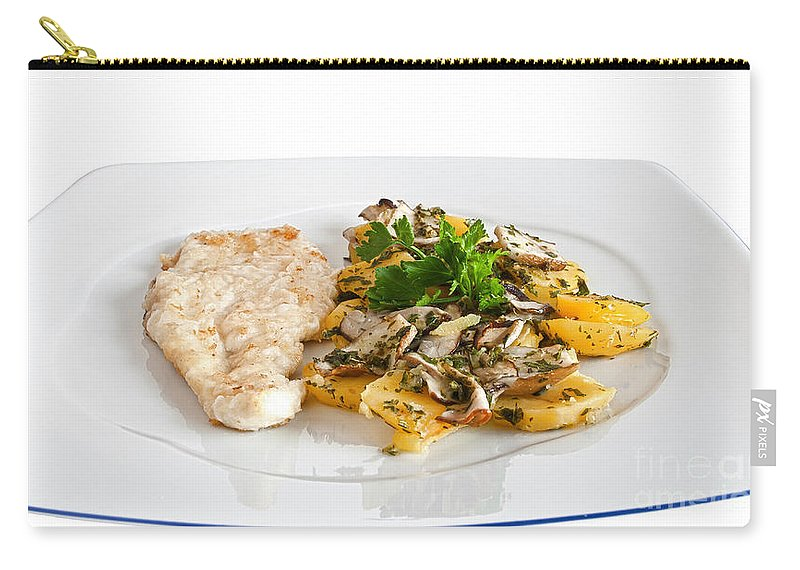 Baked Carry-all Pouch featuring the photograph Chicken Escalope With Potatoes And Mushroom by Antonio Scarpi