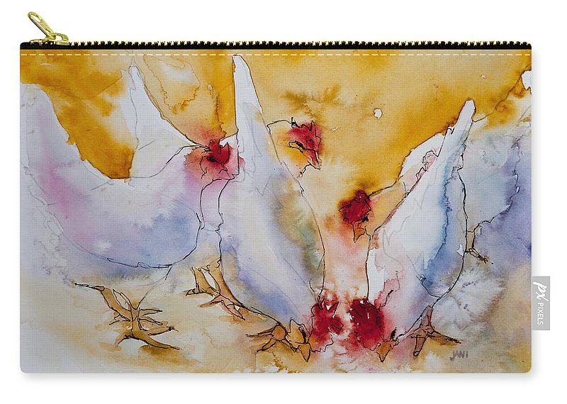Chickens Carry-all Pouch featuring the painting Chickens Feed by Jani Freimann