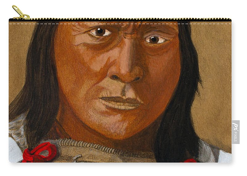 Brule Carry-all Pouch featuring the painting Chief Hollow Horn Bear by Mike Robles
