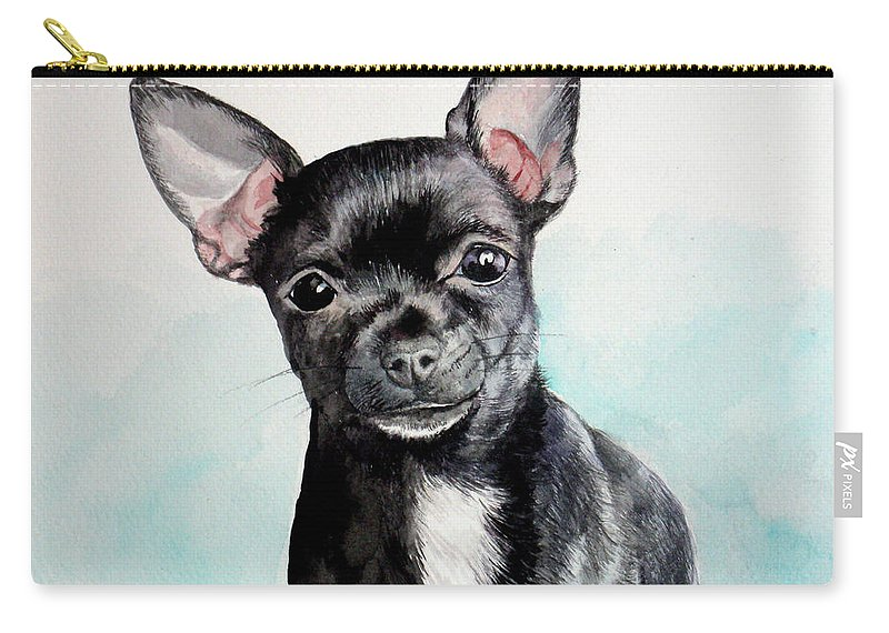 Dog Carry-all Pouch featuring the painting Chihuahua Black by Christopher Shellhammer