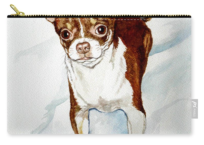 Dog Carry-all Pouch featuring the painting Chihuahua White Chocolate Color. by Christopher Shellhammer