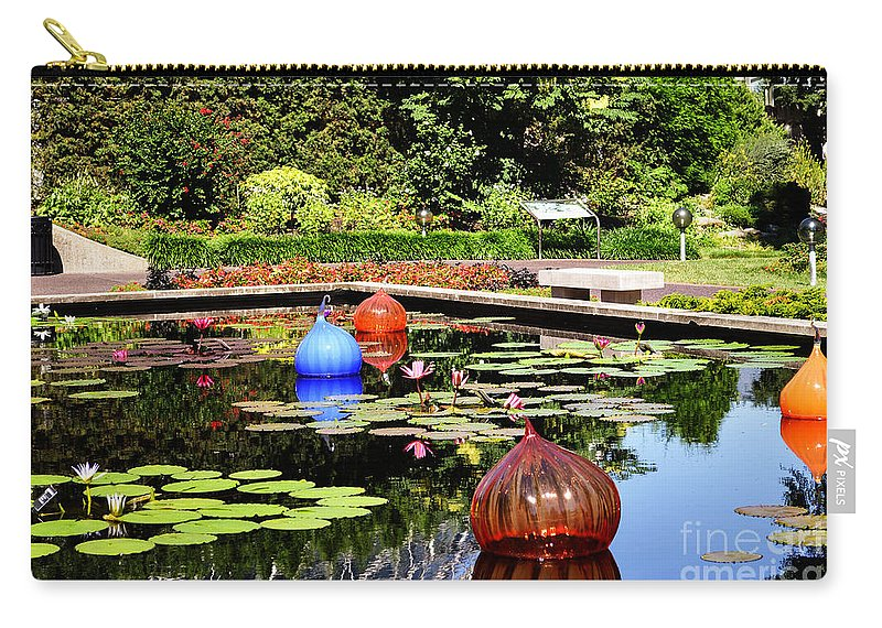Ball Lily Pond Carry-all Pouch featuring the photograph Chihuly Ball Lily Pond by Luther Fine Art
