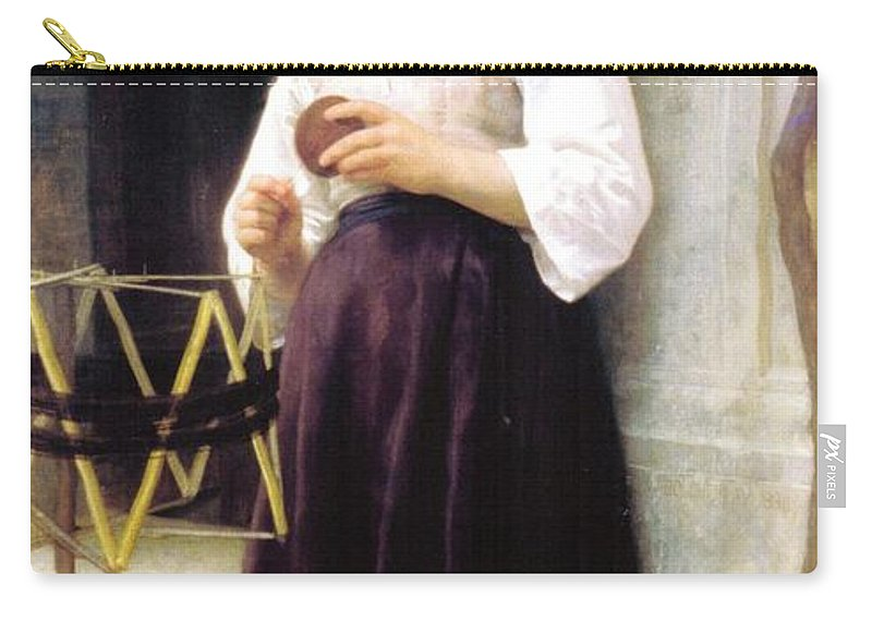 William Bouguereau Carry-all Pouch featuring the digital art Child With A Ball Of Wool by William Bouguereau