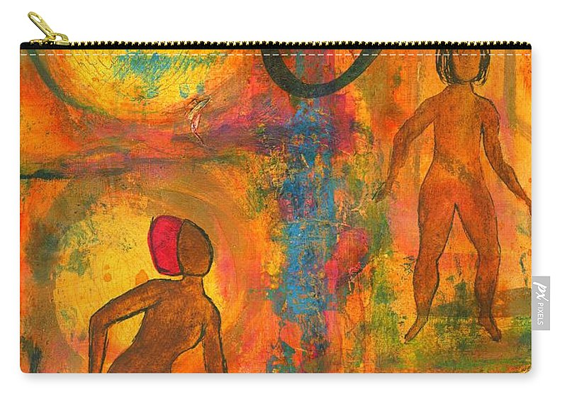 Angela Walker Carry-all Pouch featuring the painting Childhood Friends - I Remember You by Angela L Walker