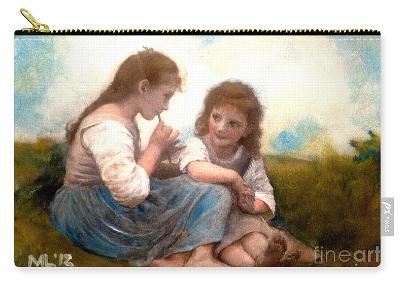Children Carry-all Pouch featuring the painting Childhood Idyllic By Bouguereau by Maria Leah Comillas