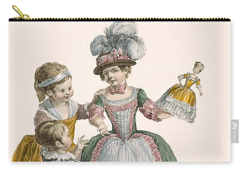 Carry-all Pouch featuring the drawing Children At Play, Engraved By Patas by Pierre Thomas Le Clerc
