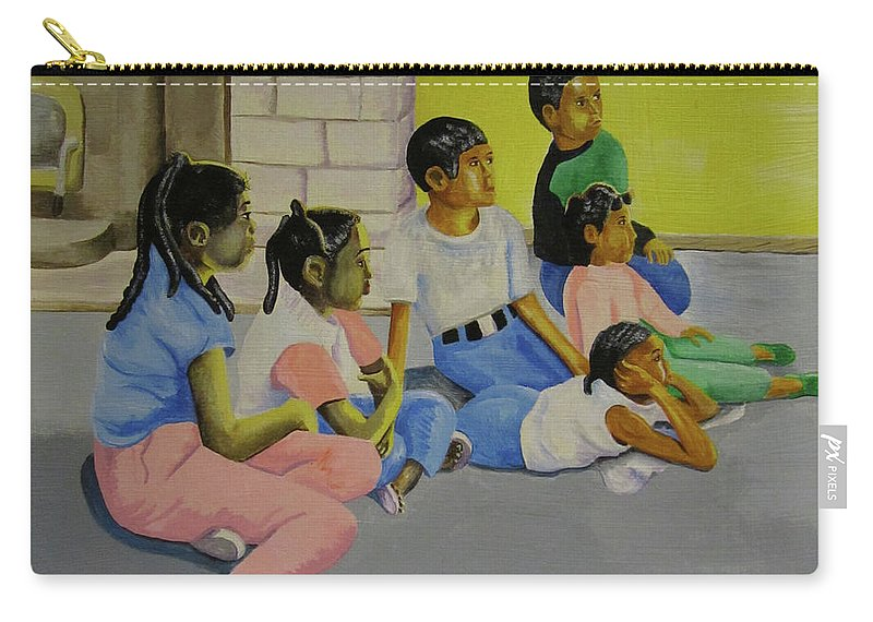 Children Carry-all Pouch featuring the painting Children's Attention Span by Thomas J Herring
