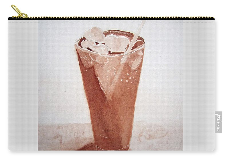 Cold Drink With Ice In Glass Carry-all Pouch featuring the painting Chilling Out by Elvira Ingram