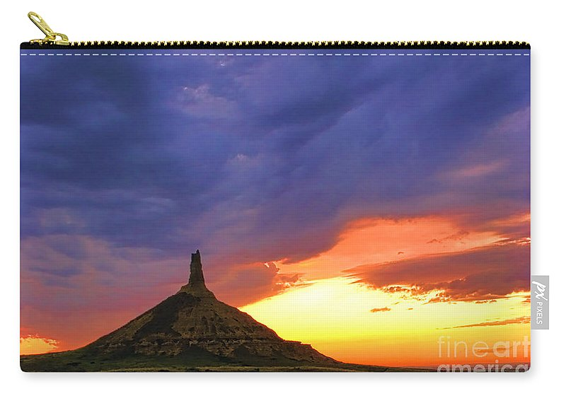 Chimney Rock Carry-all Pouch featuring the photograph Chimney Rock Nebraska by Olivier Le Queinec