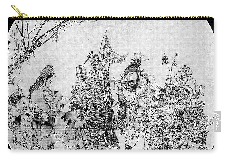 13th Century Carry-all Pouch featuring the photograph China: Peddler & Children by Granger