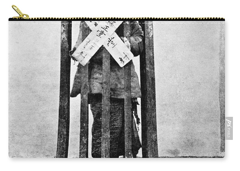 1870 Carry-all Pouch featuring the photograph China Punishment, C1870 by Granger