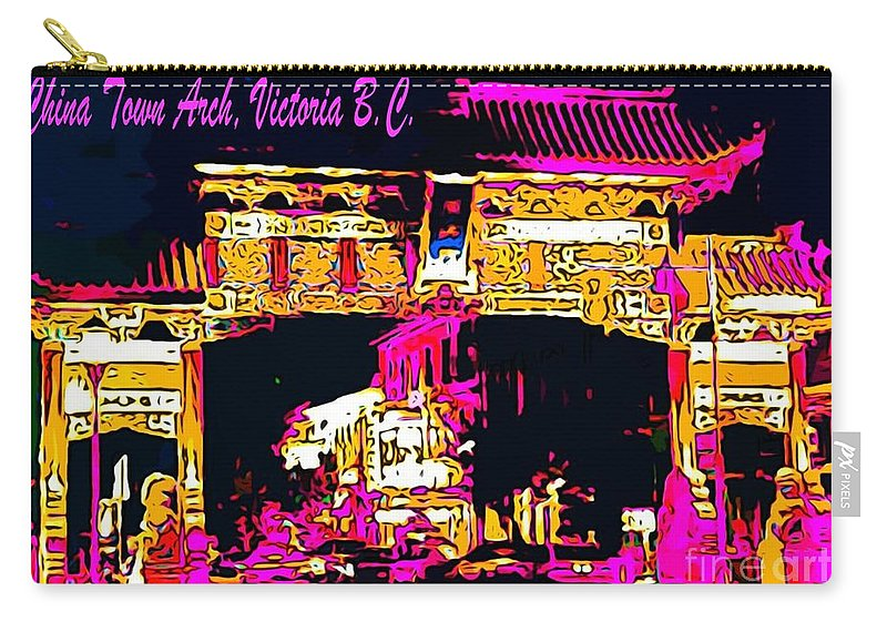 China Town Arch Victoria British Columbia Canada Carry-all Pouch featuring the painting China Town Arch Victoria British Columbia Canada by John Malone