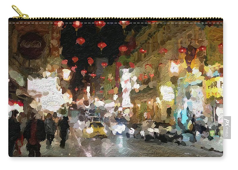 san Francisco Carry-all Pouch featuring the painting China Town At Night by Linda Woods