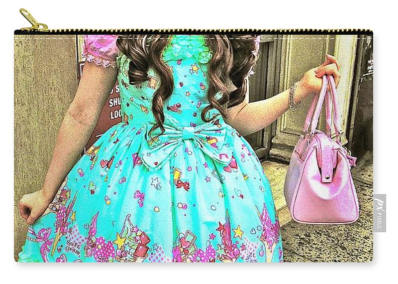 New York Street Art Carry-all Pouch featuring the photograph China Town Girl 2013 by Joan Reese