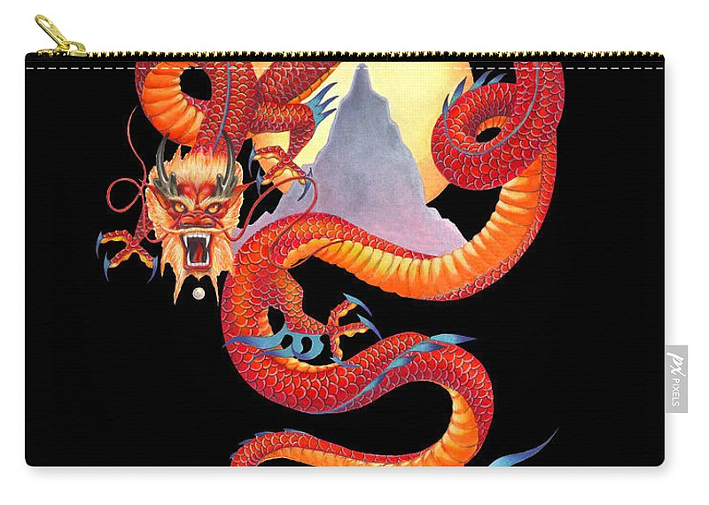 Dragon Carry-all Pouch featuring the painting Chinese Dragon on Black by Melissa A Benson