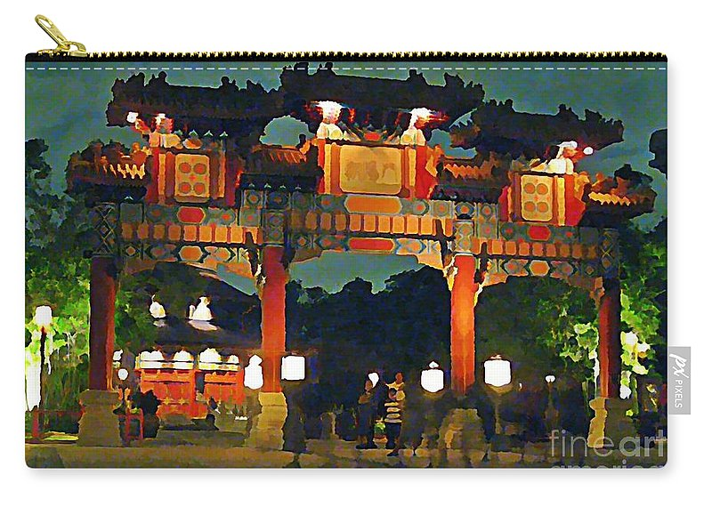 Chinese Entrance Arch Carry-all Pouch featuring the painting Chinese Entrance Arch by John Malone