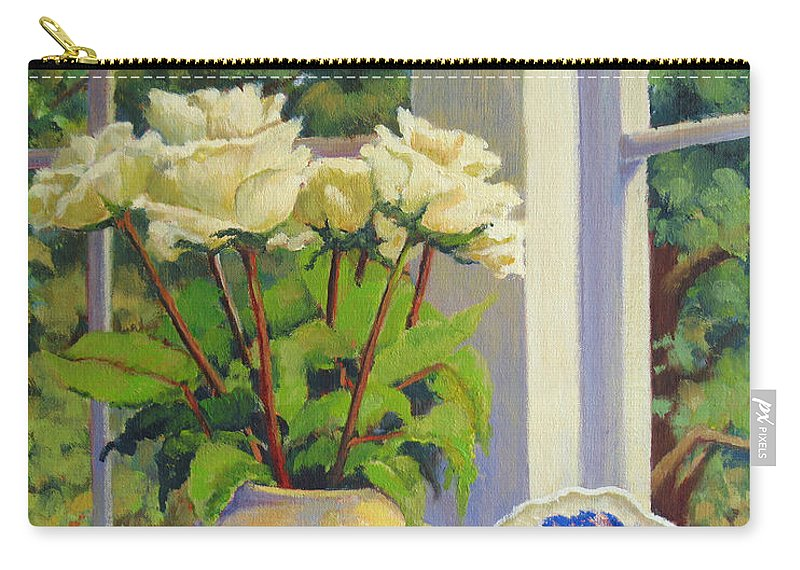 Impressionism Carry-all Pouch featuring the painting Chinese Melon Jar by Keith Burgess