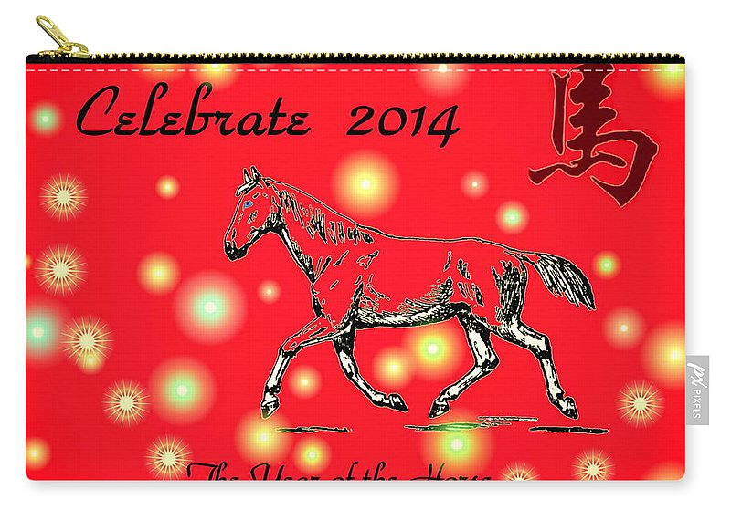 Horse Carry-all Pouch featuring the digital art Chinese New Year 2014 by Joyce Dickens