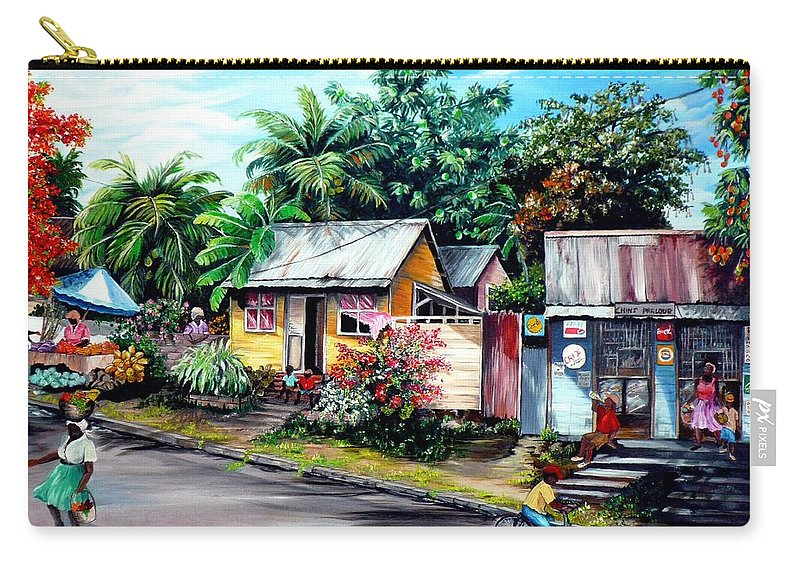Landscape Painting Caribbean Painting Shop Trinidad Tobago Poinciana Painting Market Caribbean Market Painting Tropical Painting Carry-all Pouch featuring the painting Chins Parlour   by Karin Dawn Kelshall- Best
