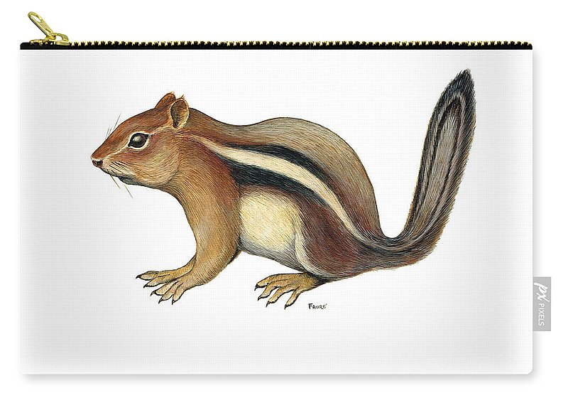 Chipmunk Carry-all Pouch featuring the painting Chipmunk by Art MacKay