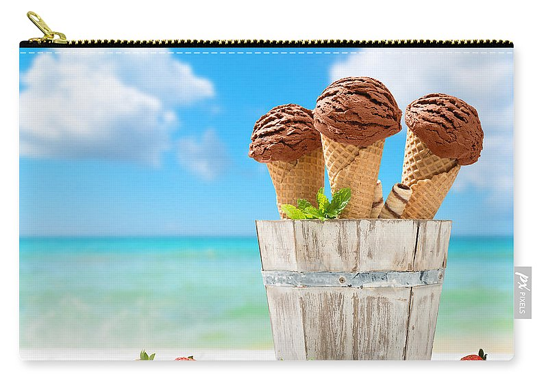 Chocolate Carry-all Pouch featuring the photograph Chocolate Icecreams by Amanda Elwell