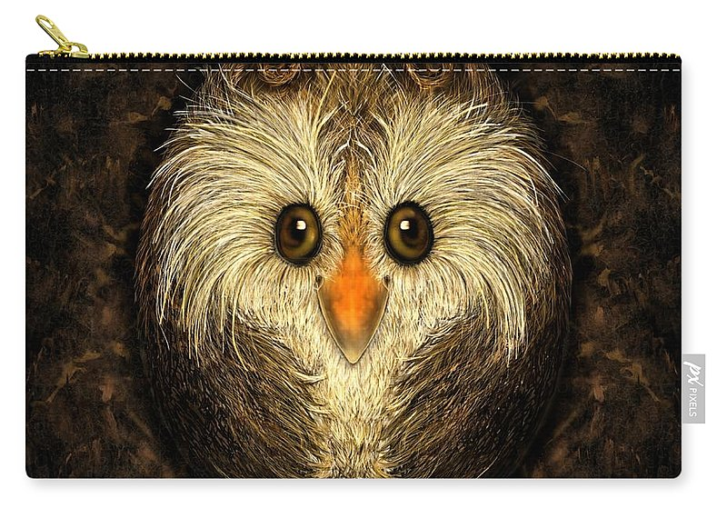 Birds Carry-all Pouch featuring the digital art Chocolate Nested Easter Owl by Mary Eichert