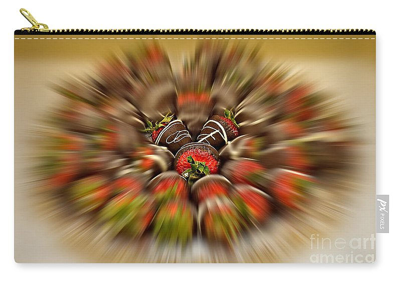Strawberry Carry-all Pouch featuring the photograph Chocolate Strawberry Rush by Susan Candelario