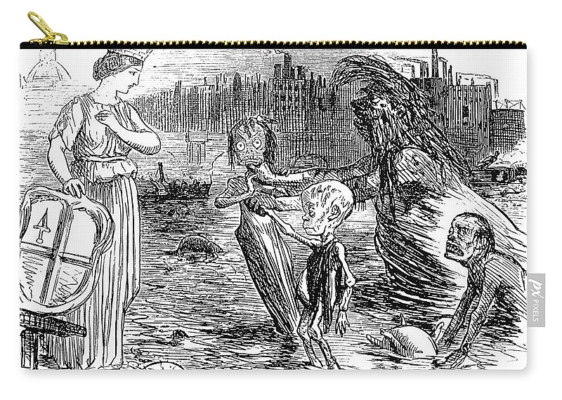 1858 Carry-all Pouch featuring the photograph Cholera Cartoon, 1858 by Granger