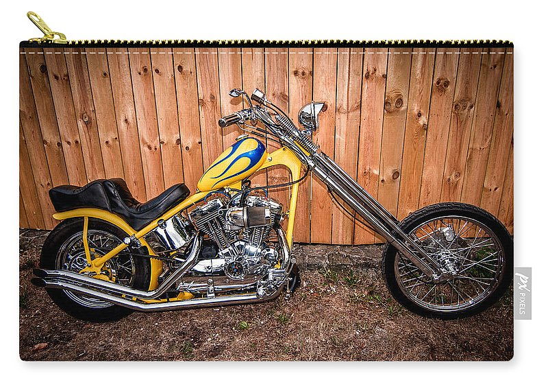 Harley Davidson Carry-all Pouch featuring the photograph Chopper Custom Built Harley by Randall Branham