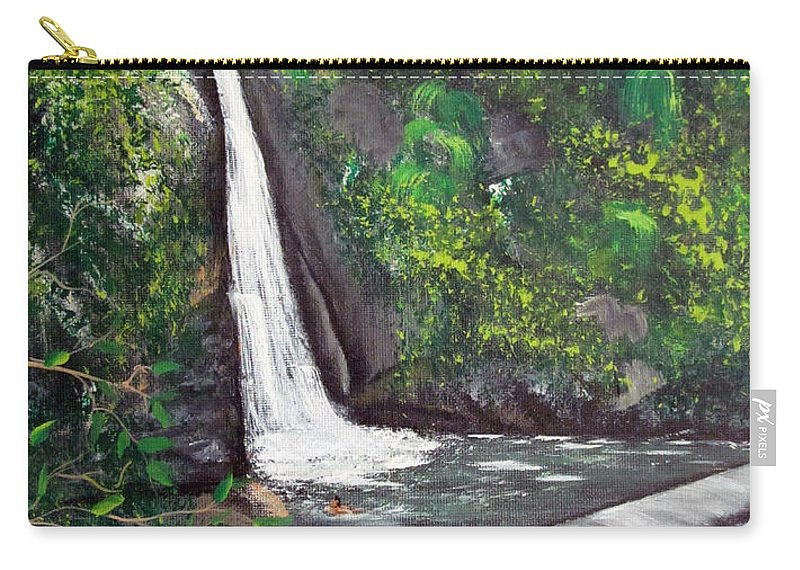 Waterfall Carry-all Pouch featuring the painting Chorro De Dona Juana by Gloria E Barreto-Rodriguez