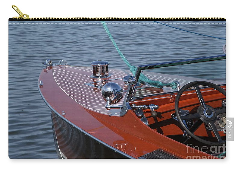 Boat Carry-all Pouch featuring the photograph Chris Craft Triple Cockpit by Neil Zimmerman