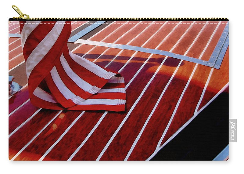 Classic Boat Carry-all Pouch featuring the photograph Chris Craft With American Flag by Michelle Calkins