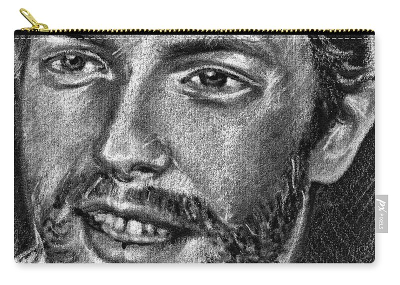 Coldplay Carry-all Pouch featuring the drawing Chris Martin - Coldplay by Daliana Pacuraru