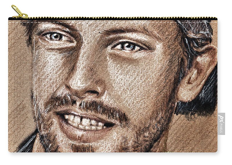 Chris Martin Portraits Carry-all Pouch featuring the drawing Chris Martin by Daliana Pacuraru