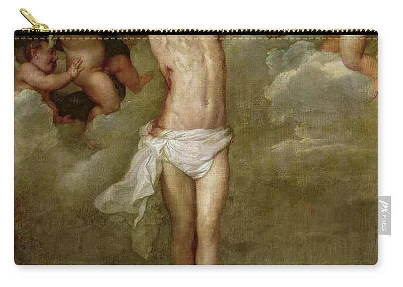 Rubens Carry-all Pouch featuring the painting Christ Attended By Angels Holding Chalices by Peter Paul Rubens