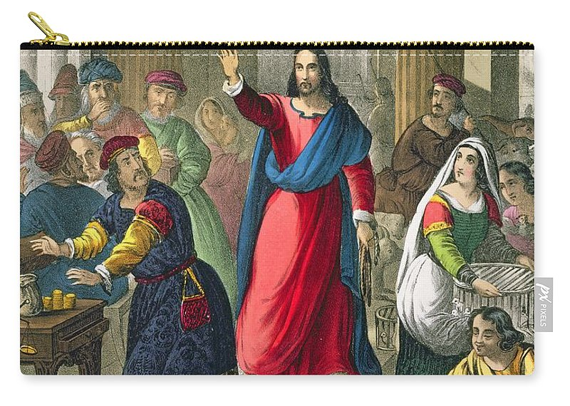 Print Carry-all Pouch featuring the drawing Christ Cleanses The Temple by Siegfried Detler Bendixen