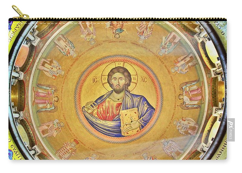 Christ Pantocrator Carry-all Pouch featuring the photograph Christ Pantocrator -- Church Of The Holy Sepulchre by Stephen Stookey