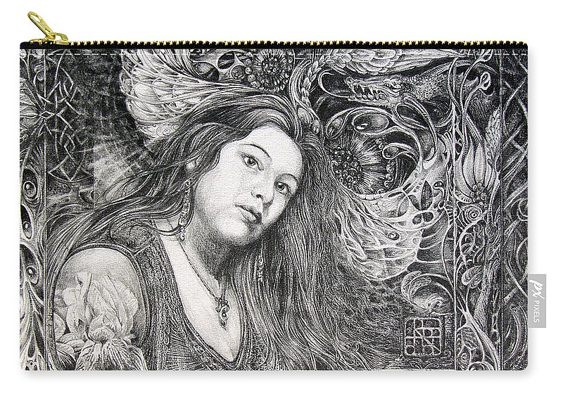 Portrait Carry-all Pouch featuring the drawing Christan Portrait by Otto Rapp