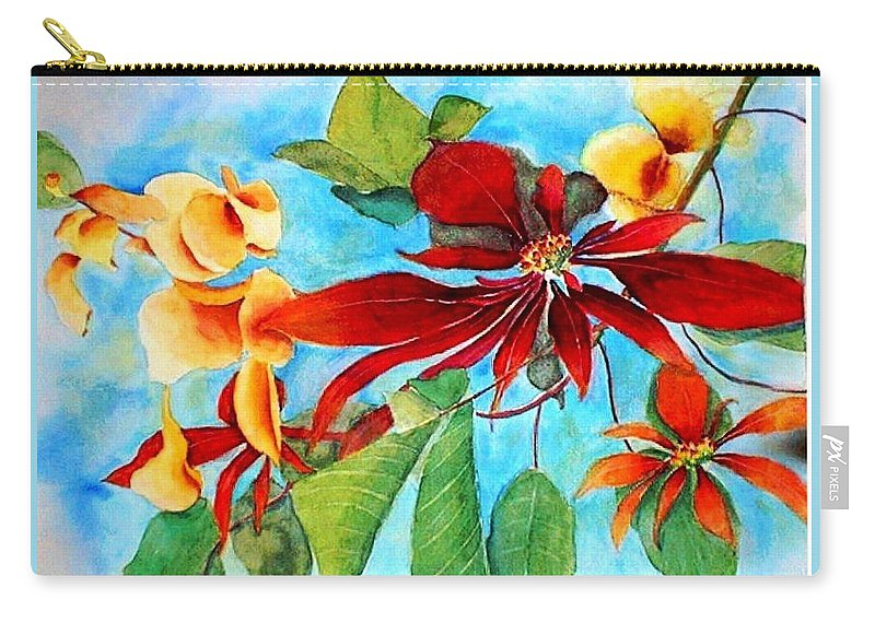 Watercolor Carry-all Pouch featuring the painting Christmas All Year Long by Debbie Lewis