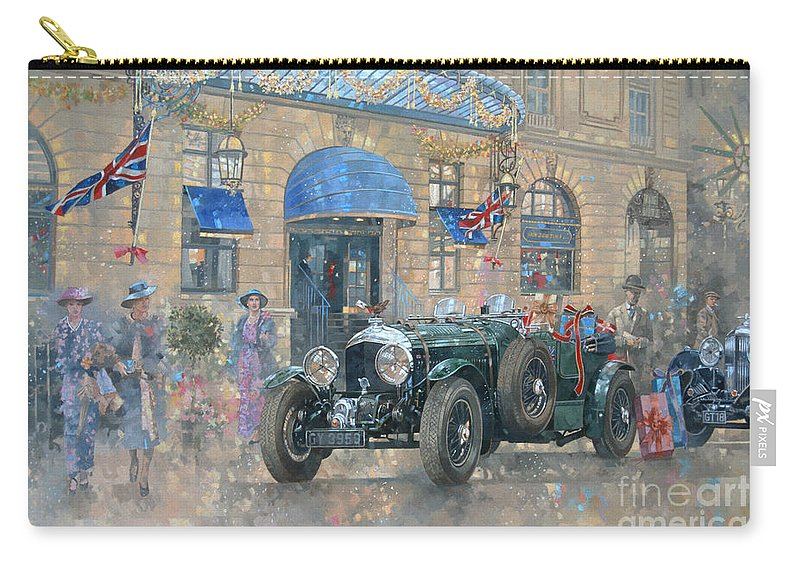 Rolls Royce Carry-all Pouch featuring the painting Christmas At The Ritz by Peter Miller