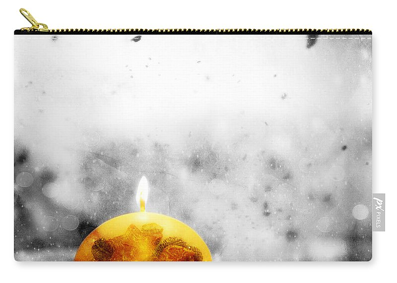 Winter Carry-all Pouch featuring the photograph Christmas Ball Candle Lights On Winter Background by Michal Bednarek