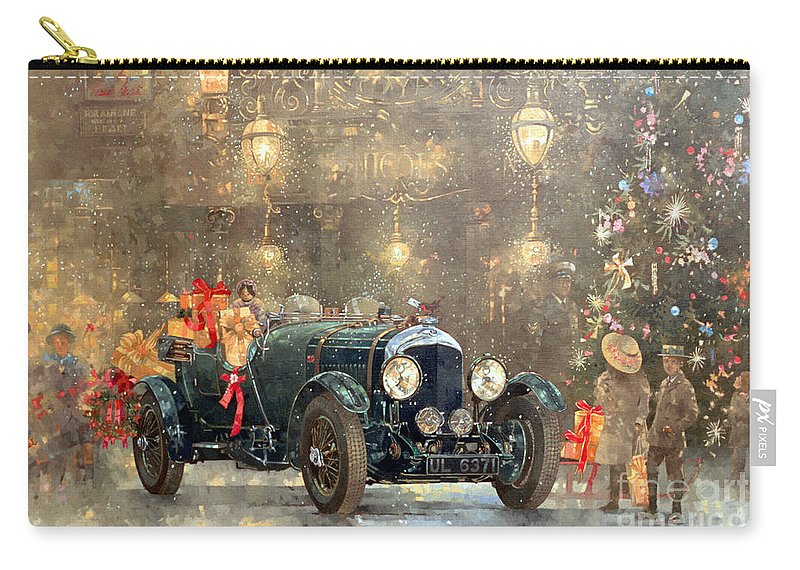 Motor Car Carry-all Pouch featuring the painting Christmas Bentley by Peter Miller
