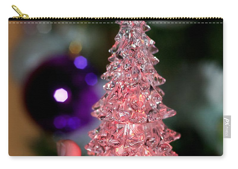Abstract Carry-all Pouch featuring the photograph A Christmas Crystal Tree In Pink by Pedro Cardona Llambias