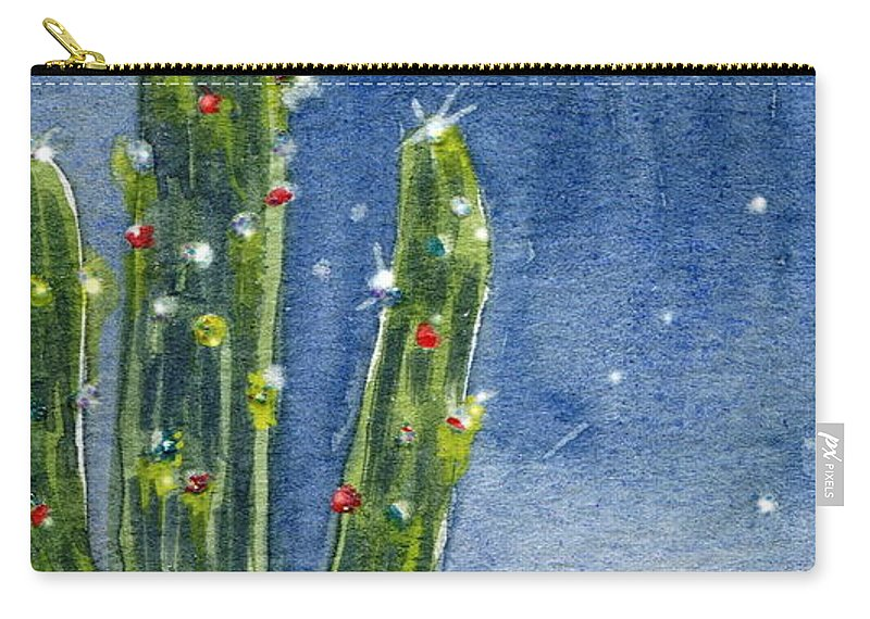 Saguaro Carry-all Pouch featuring the painting Christmas Cactus by Marilyn Smith