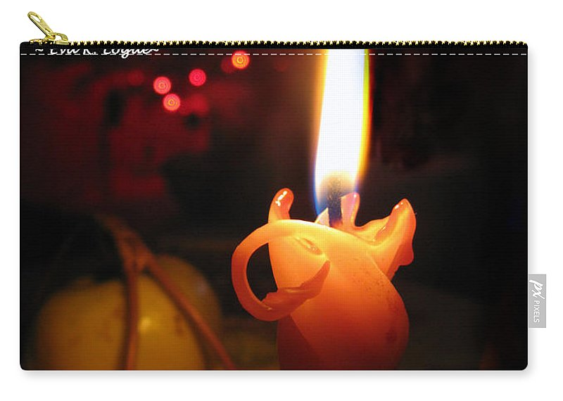 Christmas Candle Carry-all Pouch featuring the photograph Christmas Candle Greeting by Ausra Huntington nee Paulauskaite
