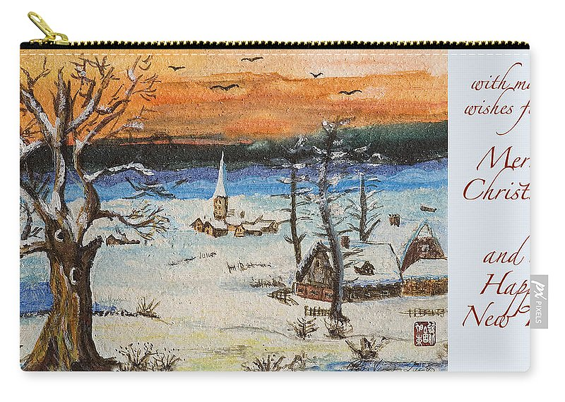 Athletics Carry-all Pouch featuring the painting Christmas Card Painting by Peter v Quenter