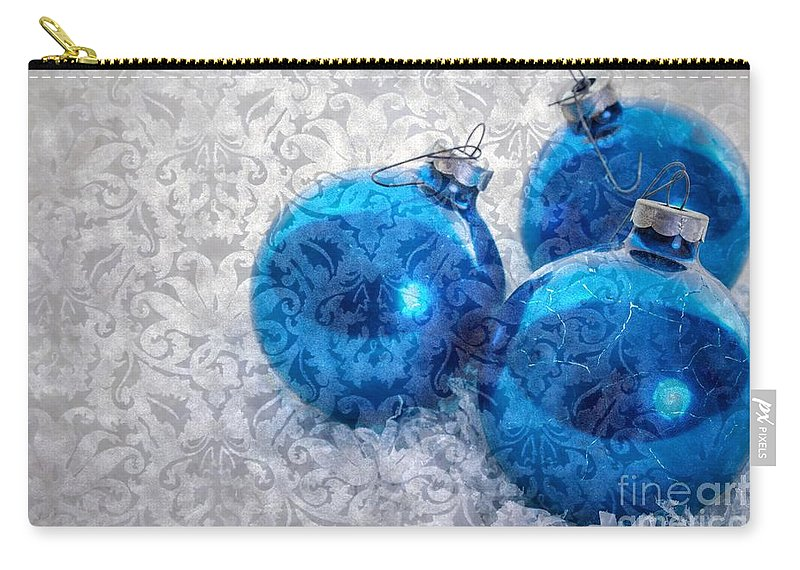 Tree Carry-all Pouch featuring the photograph Christmas Card With Vintage Blue Ornaments by Edward Fielding