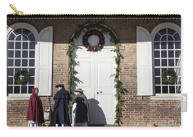 Colonial Williamsburg Carry-all Pouch featuring the photograph Christmas Conversation At The Courthouse by Teresa Mucha